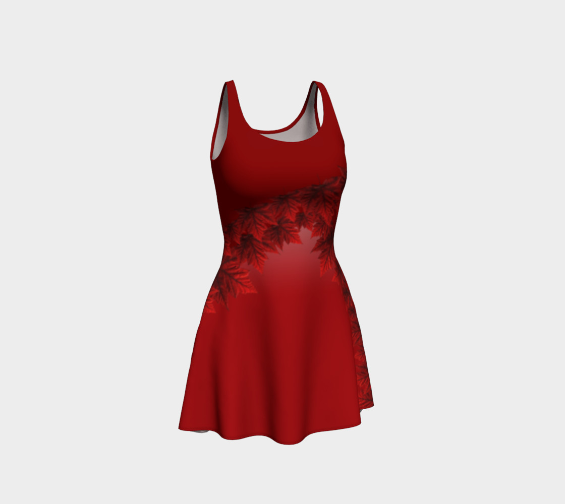 Autumn Leaves Dress Flared Canada Maple Leaf Dresses preview #1