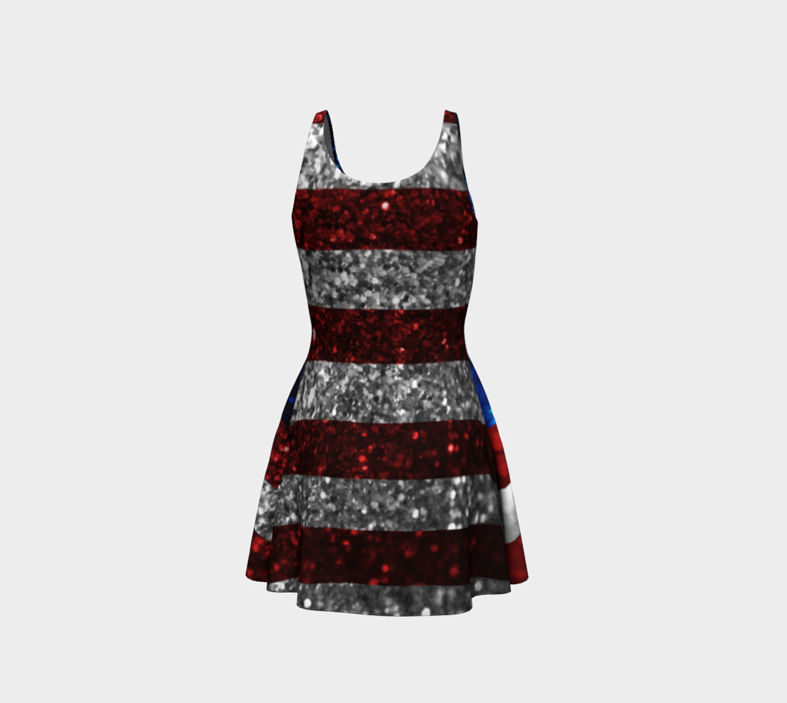 American Flag in Glitter Flare Dress preview #3