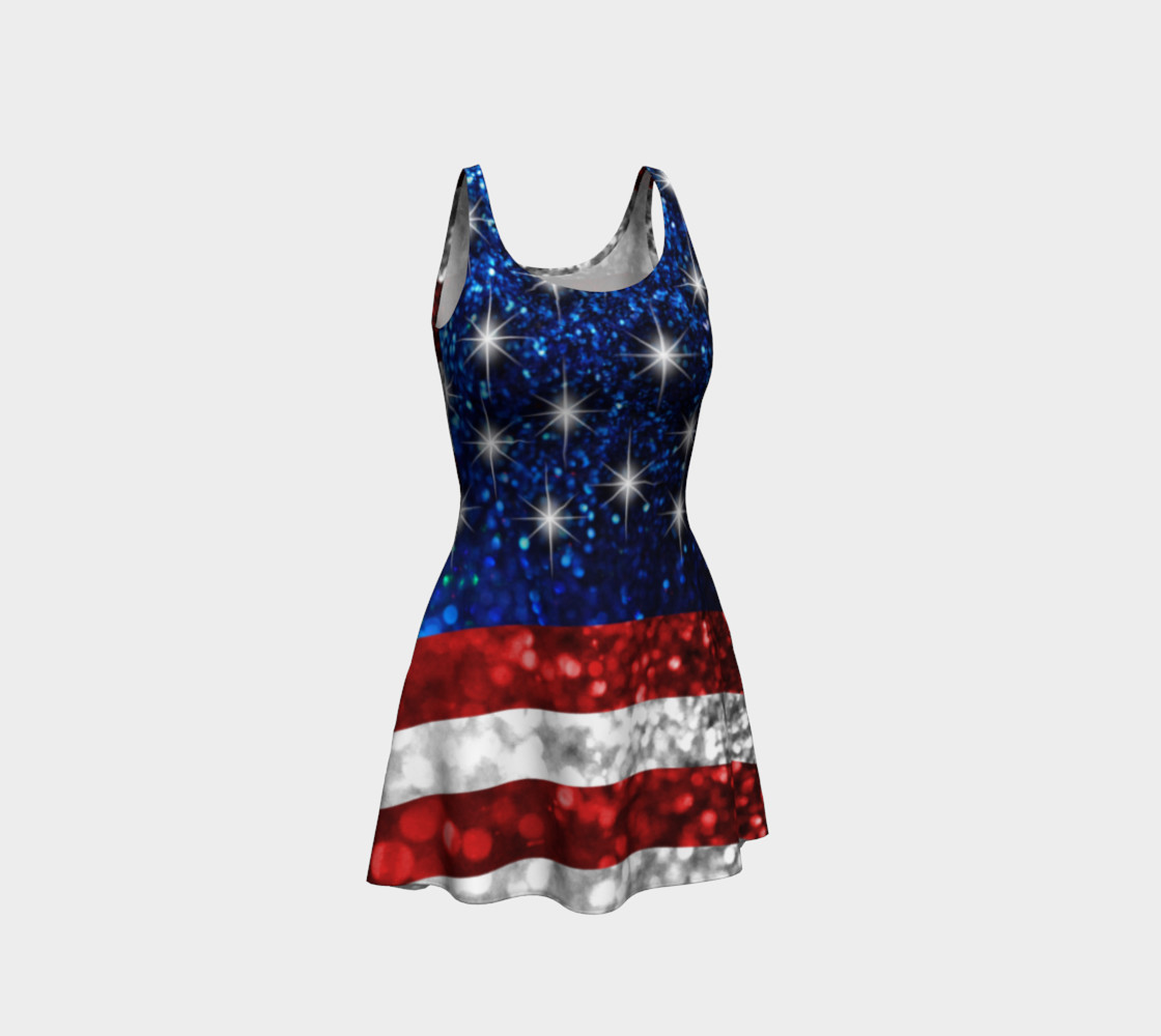 American Flag in Glitter Flare Dress preview #1