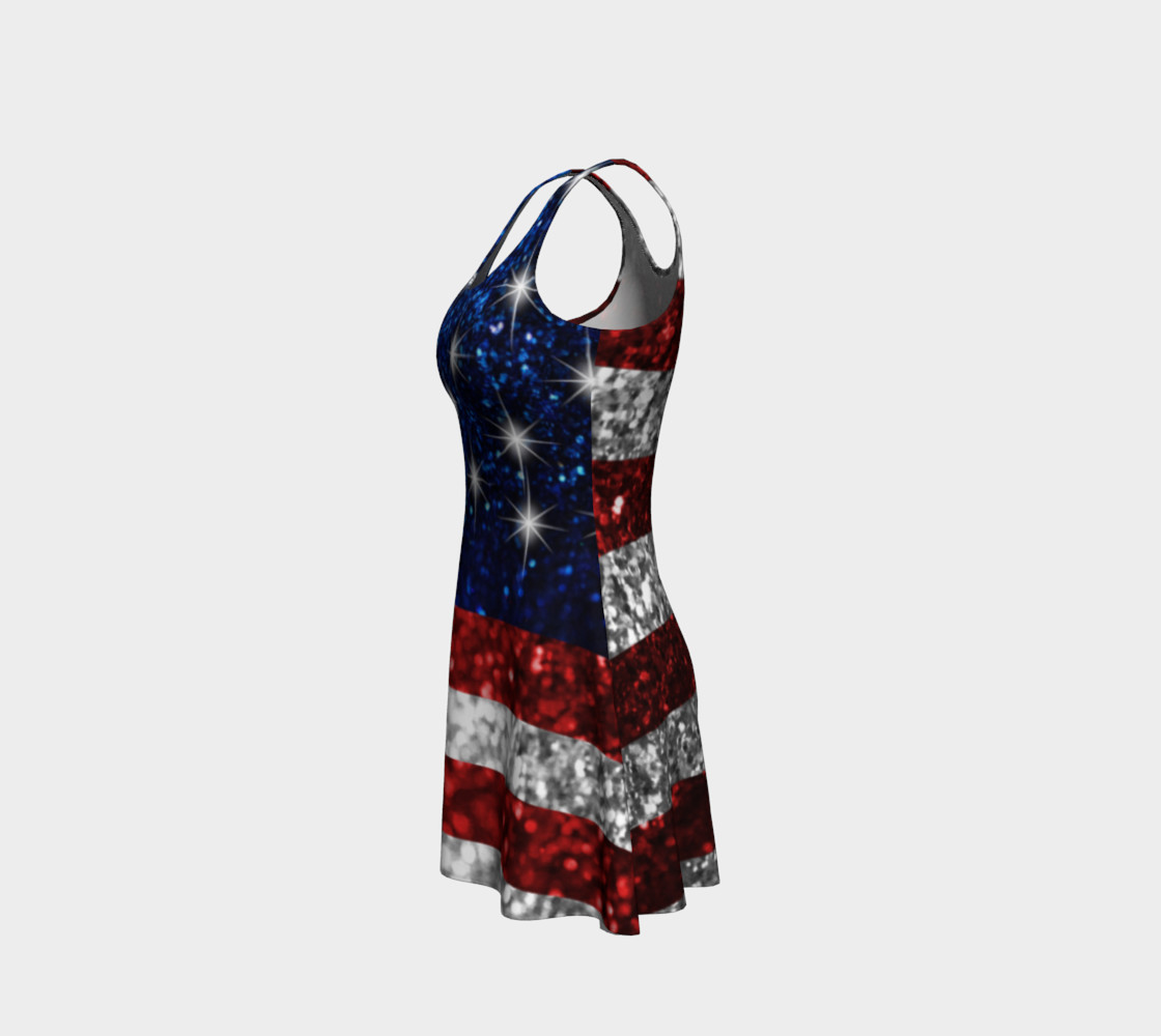 American Flag in Glitter Flare Dress preview #2
