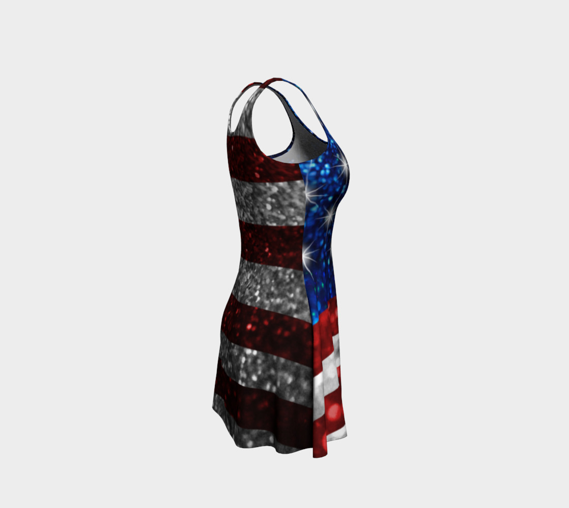 American Flag in Glitter Flare Dress preview #4