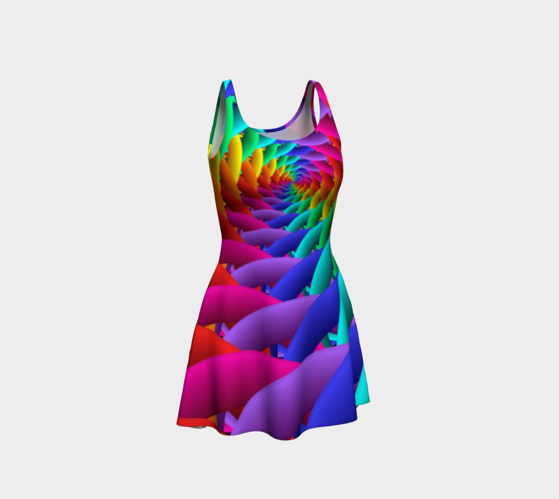 Aperçu de Psychedelic Rainbow Spiral Flare Dress #1