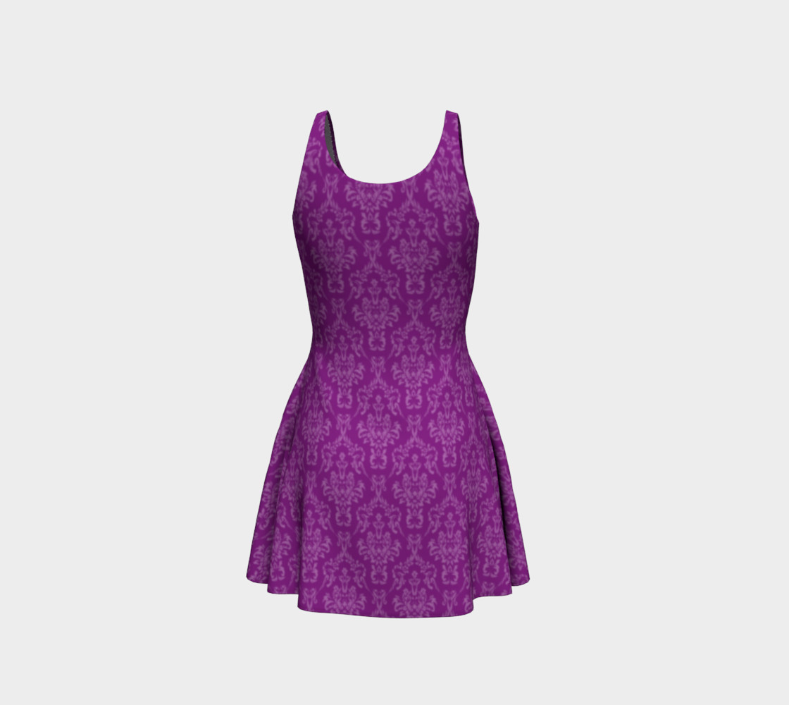 Purple Damask Flare Dress preview #3