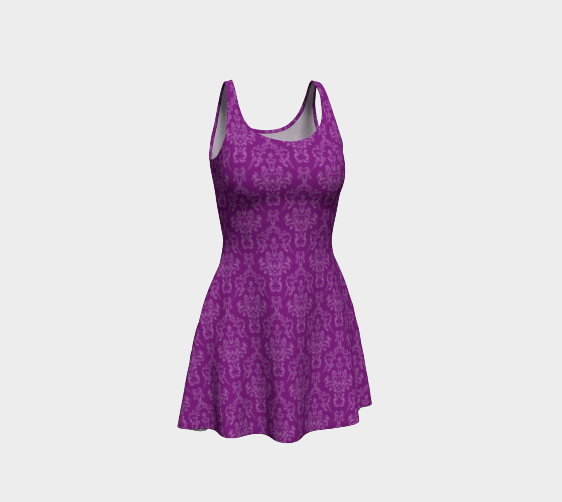 Purple Damask Flare Dress preview #1