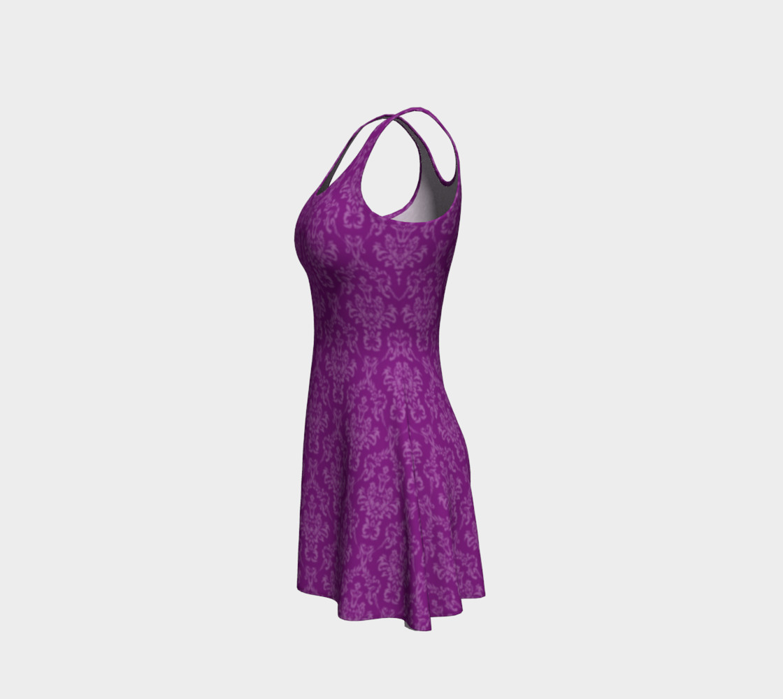 Purple Damask Flare Dress preview #2