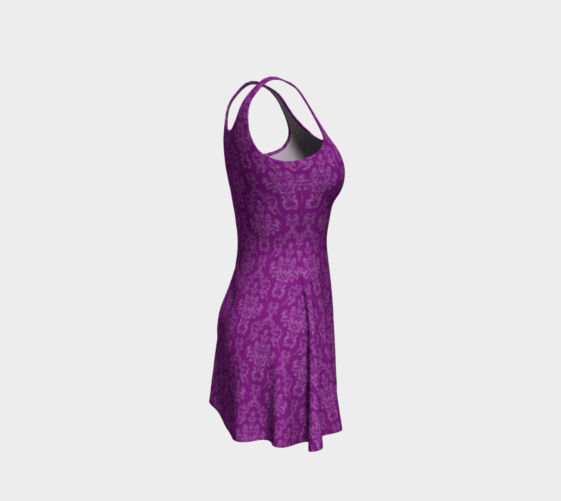 Purple Damask Flare Dress preview #4