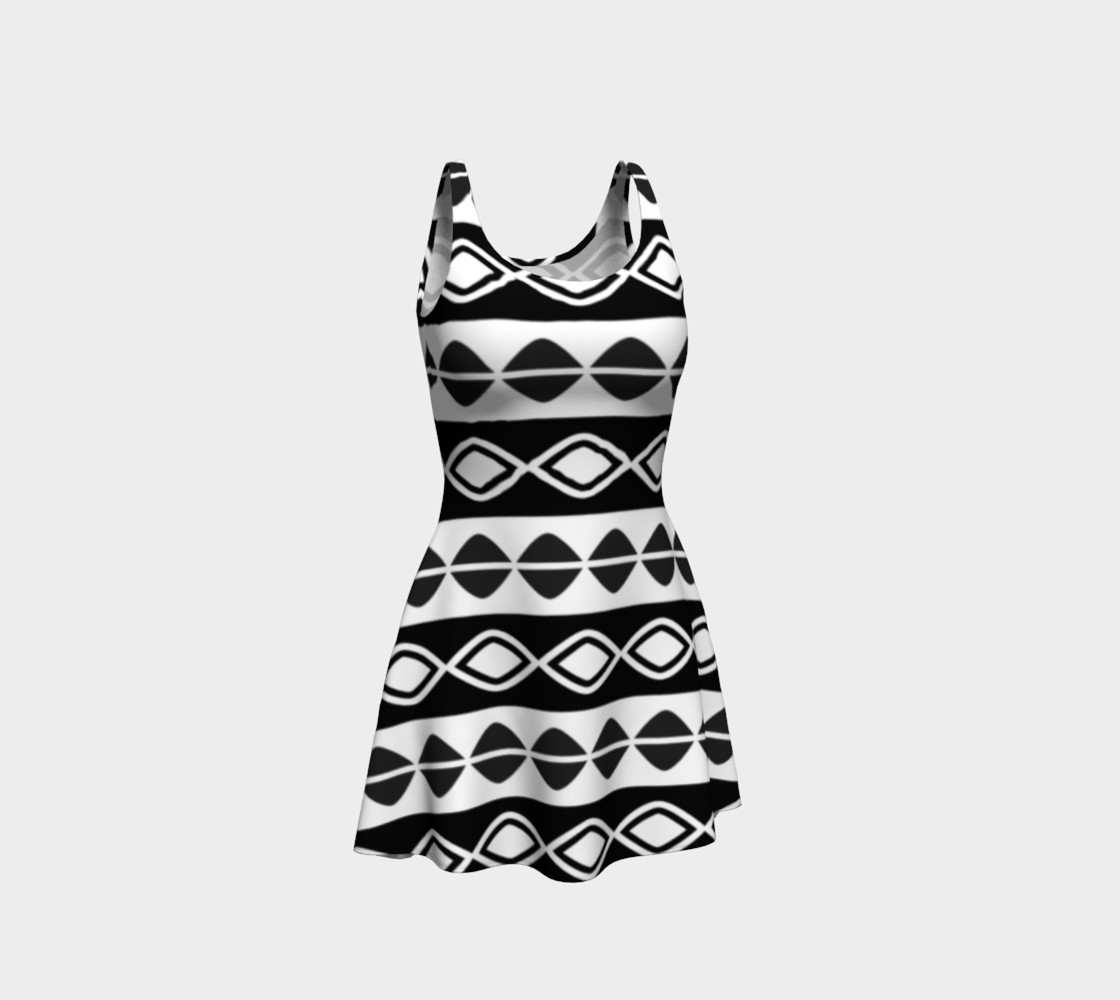 Aperçu de Black and White Tribal Print Flare Dress #1