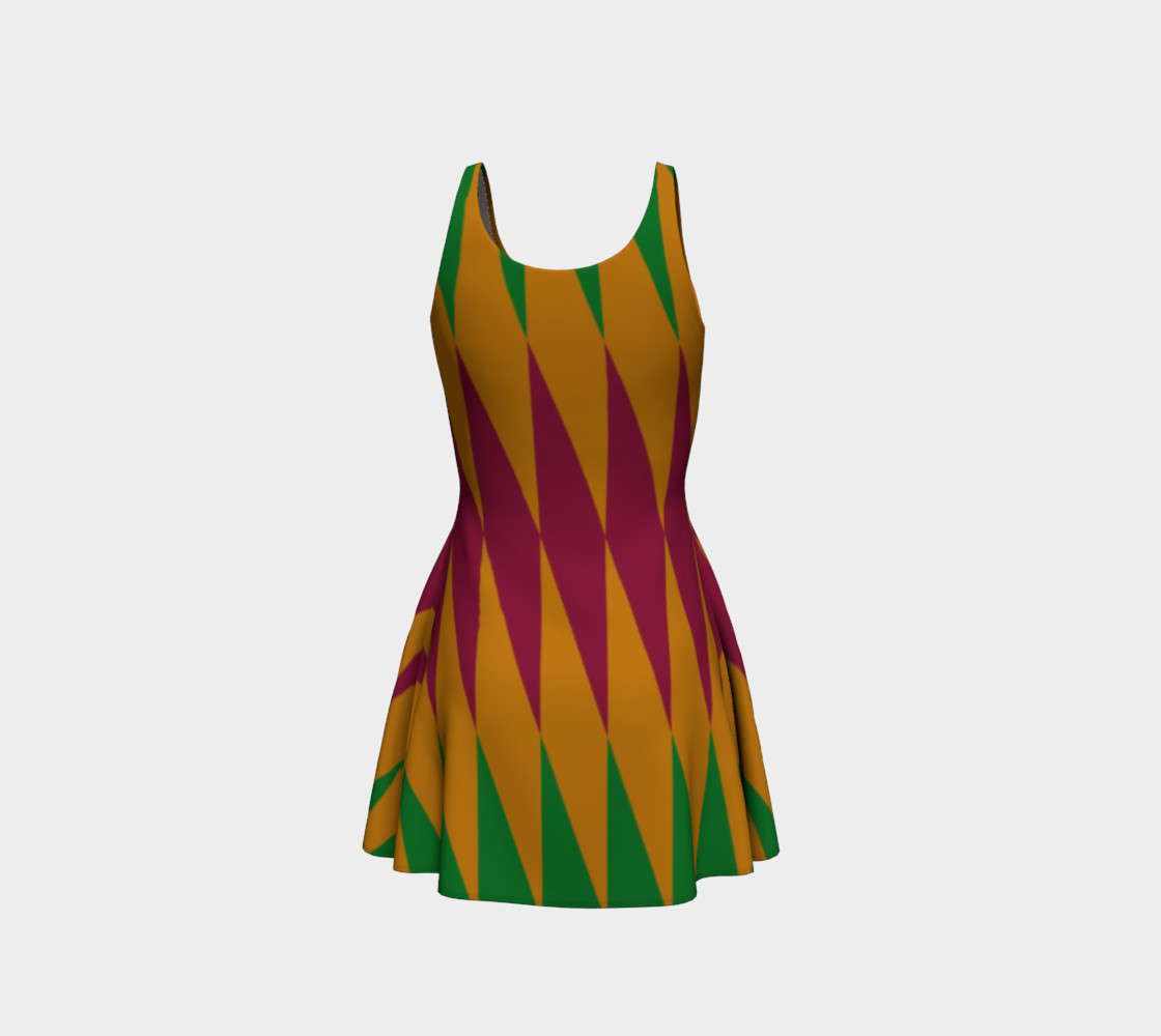 Geometric African Print Flare Dress preview #3