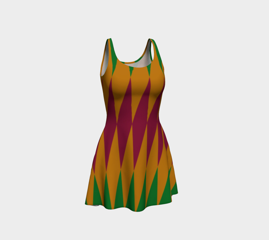 Geometric African Print Flare Dress preview #1