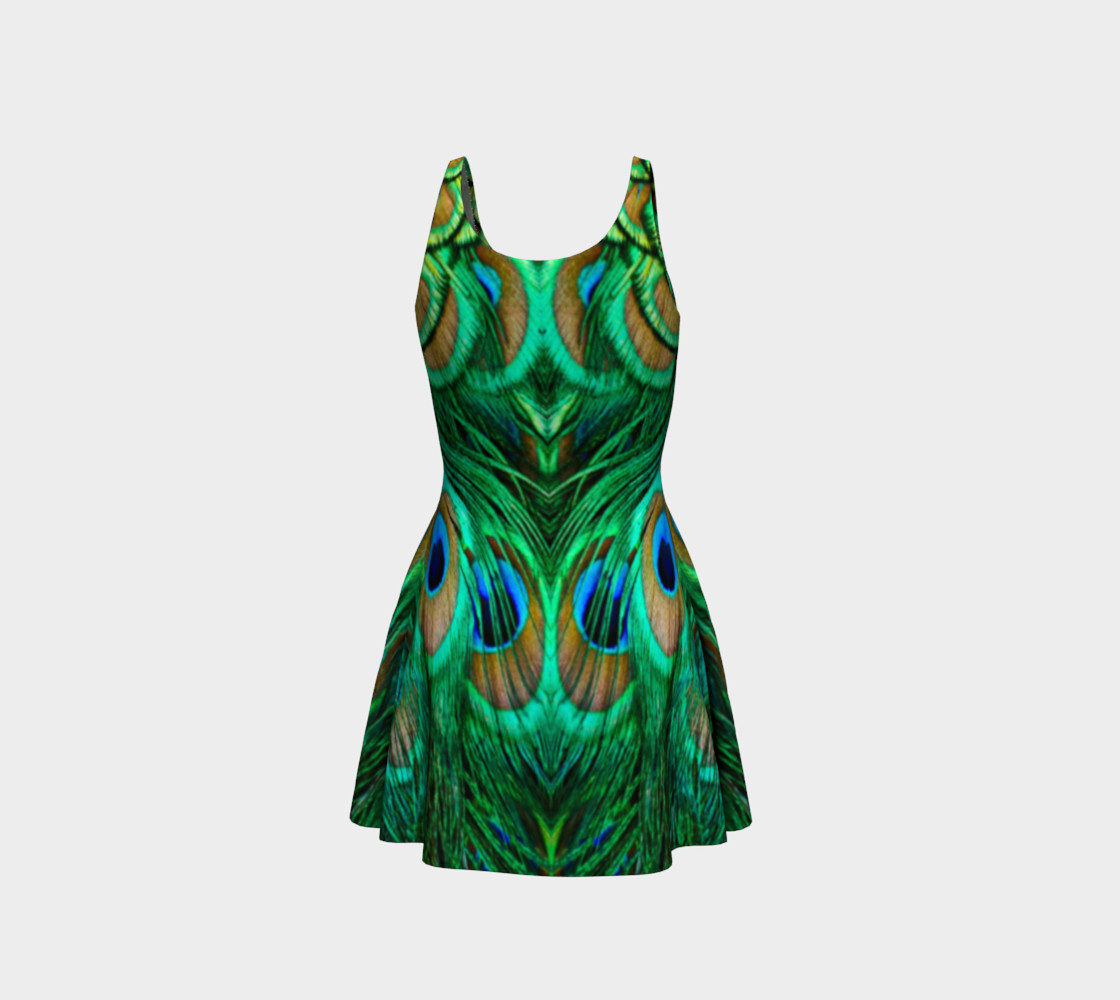 Peacock Feather Reflection Flare Dress preview #3