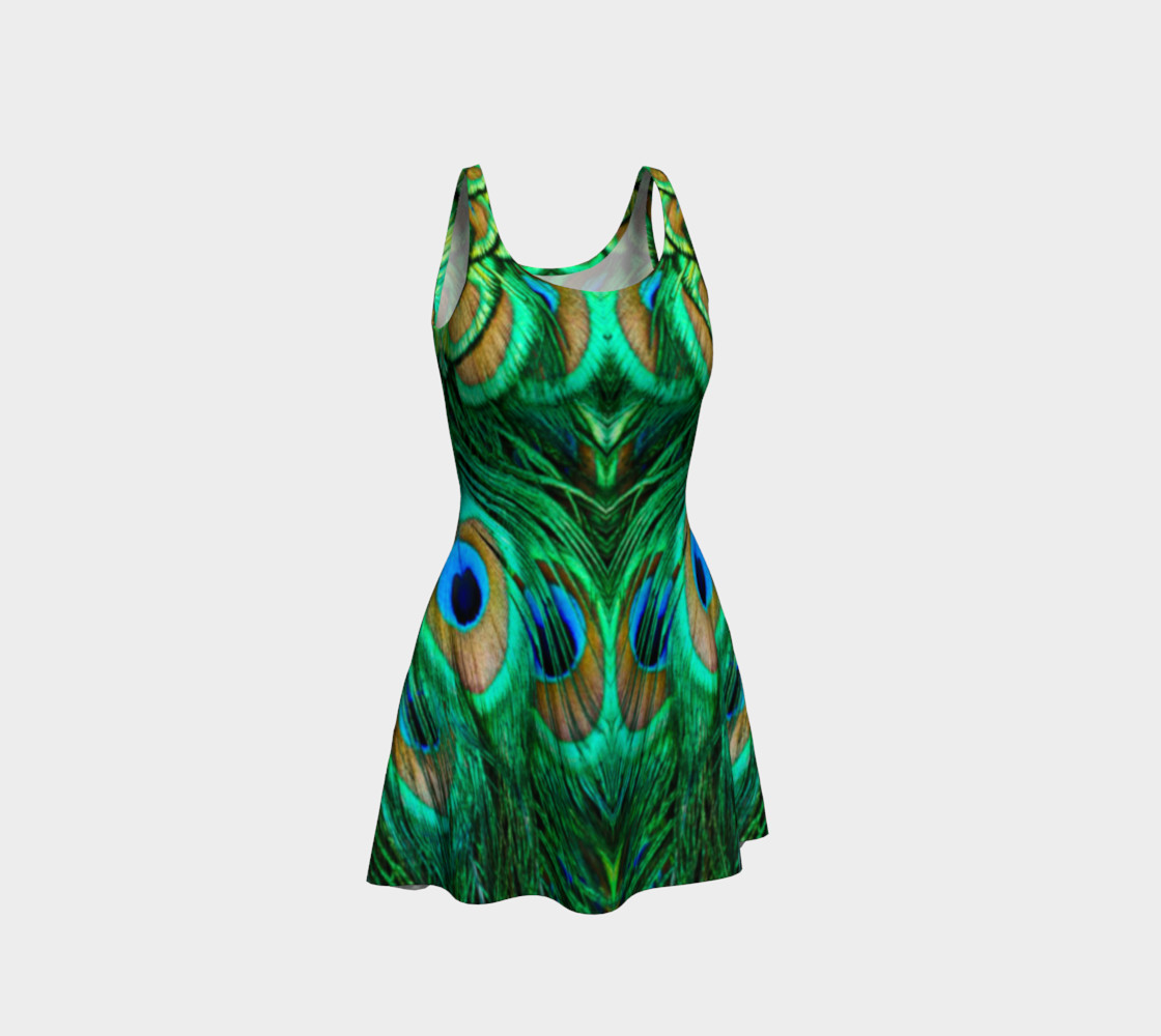 Peacock Feather Reflection Flare Dress preview #1