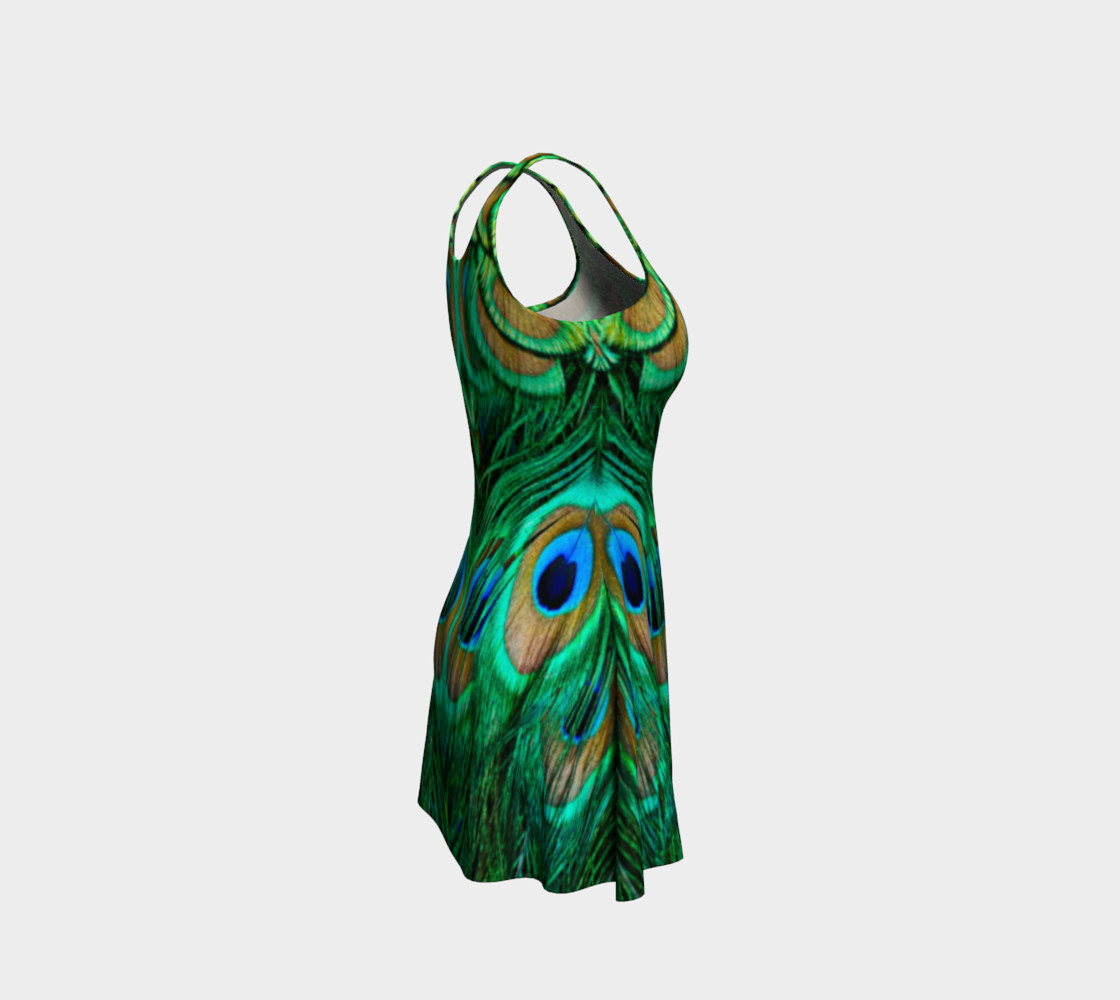 Peacock Feather Reflection Flare Dress preview #4