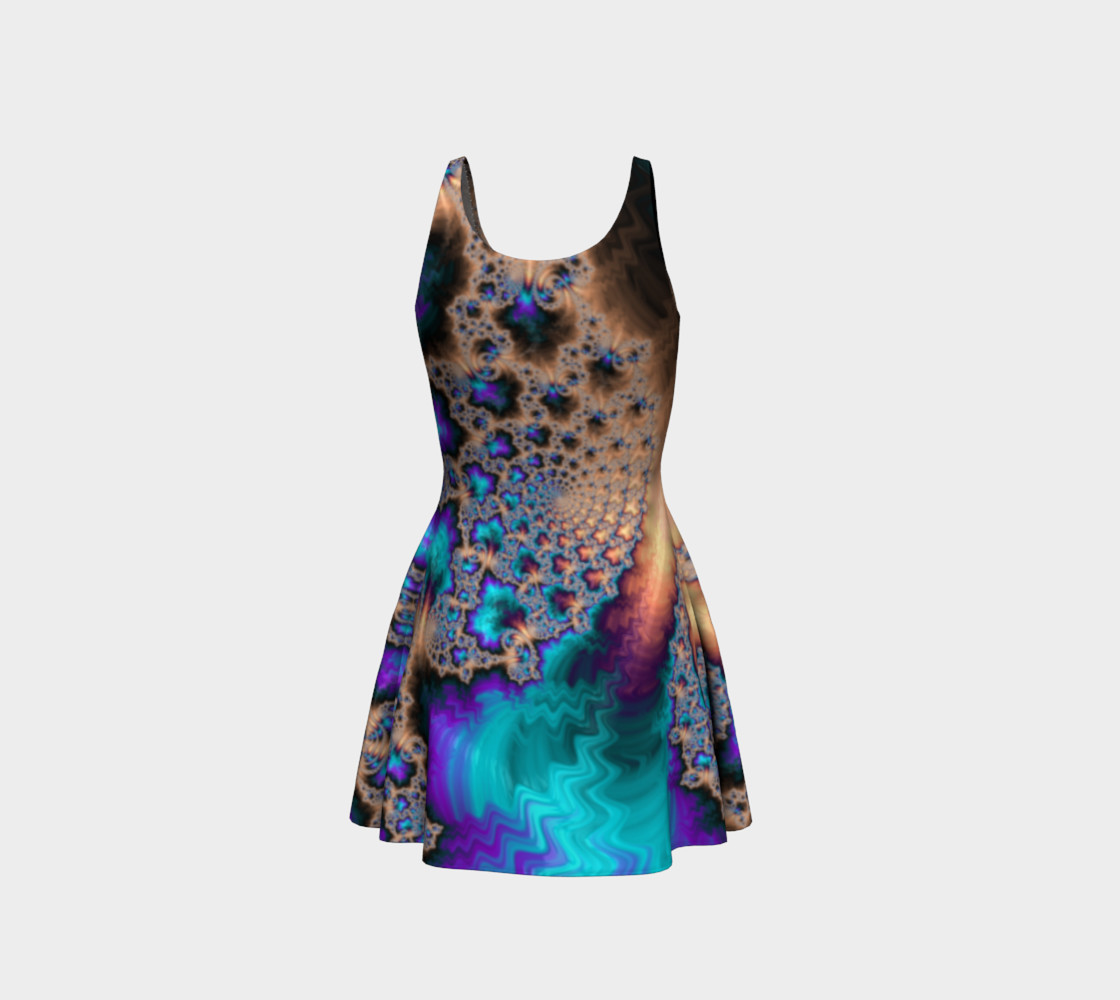 Electric Ocean Flare Dress preview #3