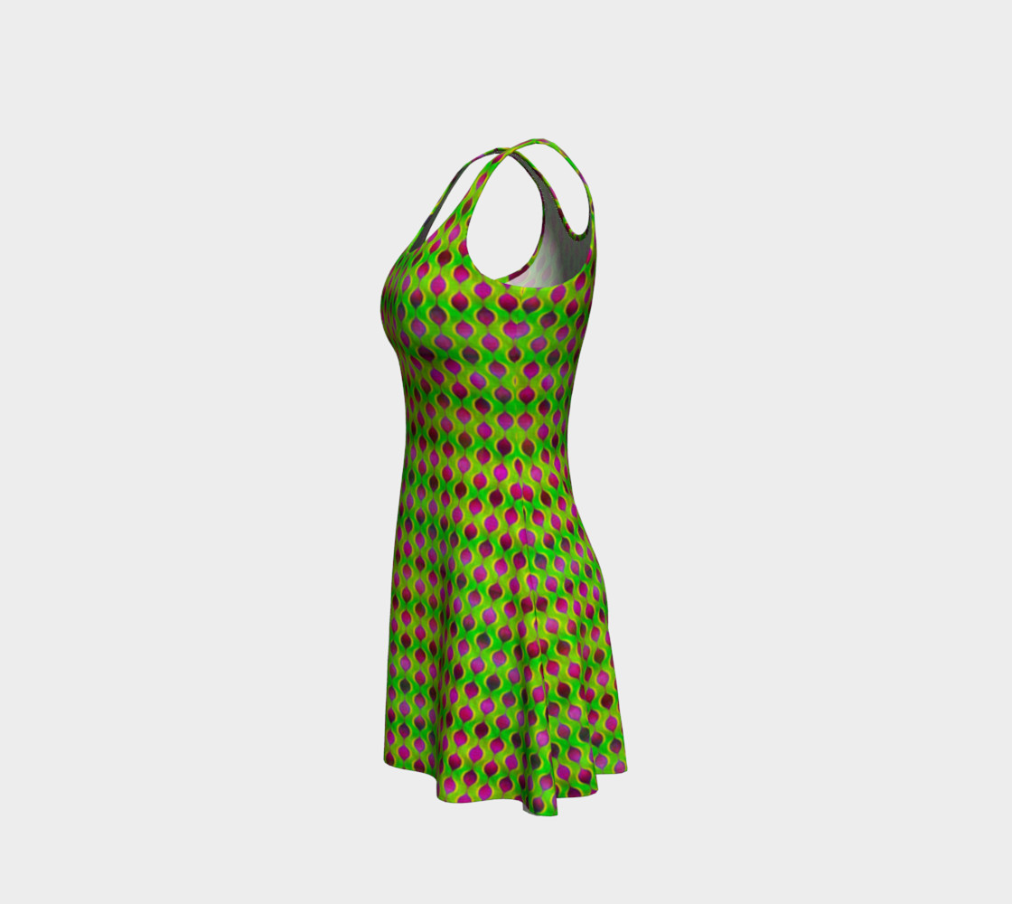 Fun Bright Green Purple Ogee Pattern Flare Dress preview #2