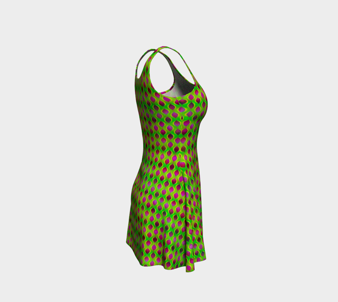 Fun Bright Green Purple Ogee Pattern Flare Dress preview #4