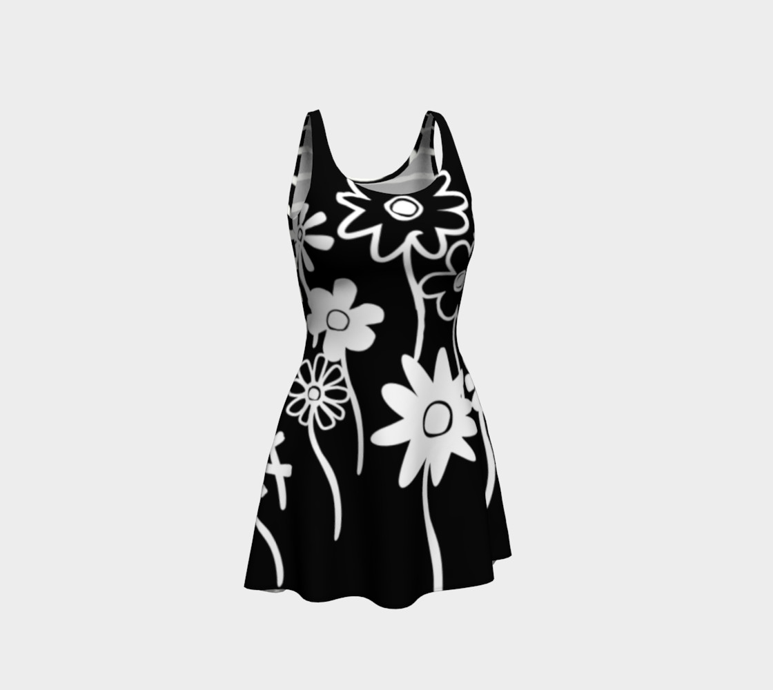 Nalah Print--Malah Print Black and White Funky Flowers on Front, Black and White Uneven Stripes on Back preview #1