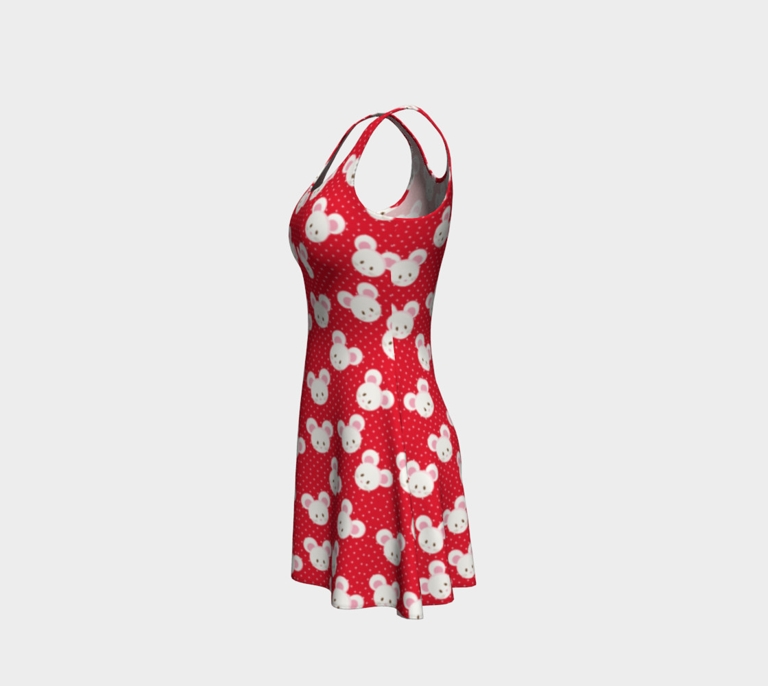 Red Polka Dot Mice Flare Dress Miniature #3