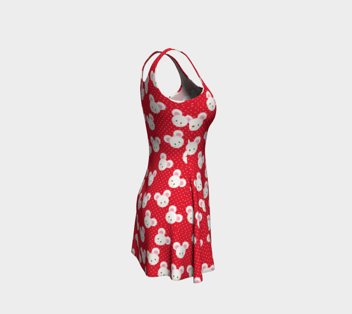 Aperçu de Red Polka Dot Mice Flare Dress #4