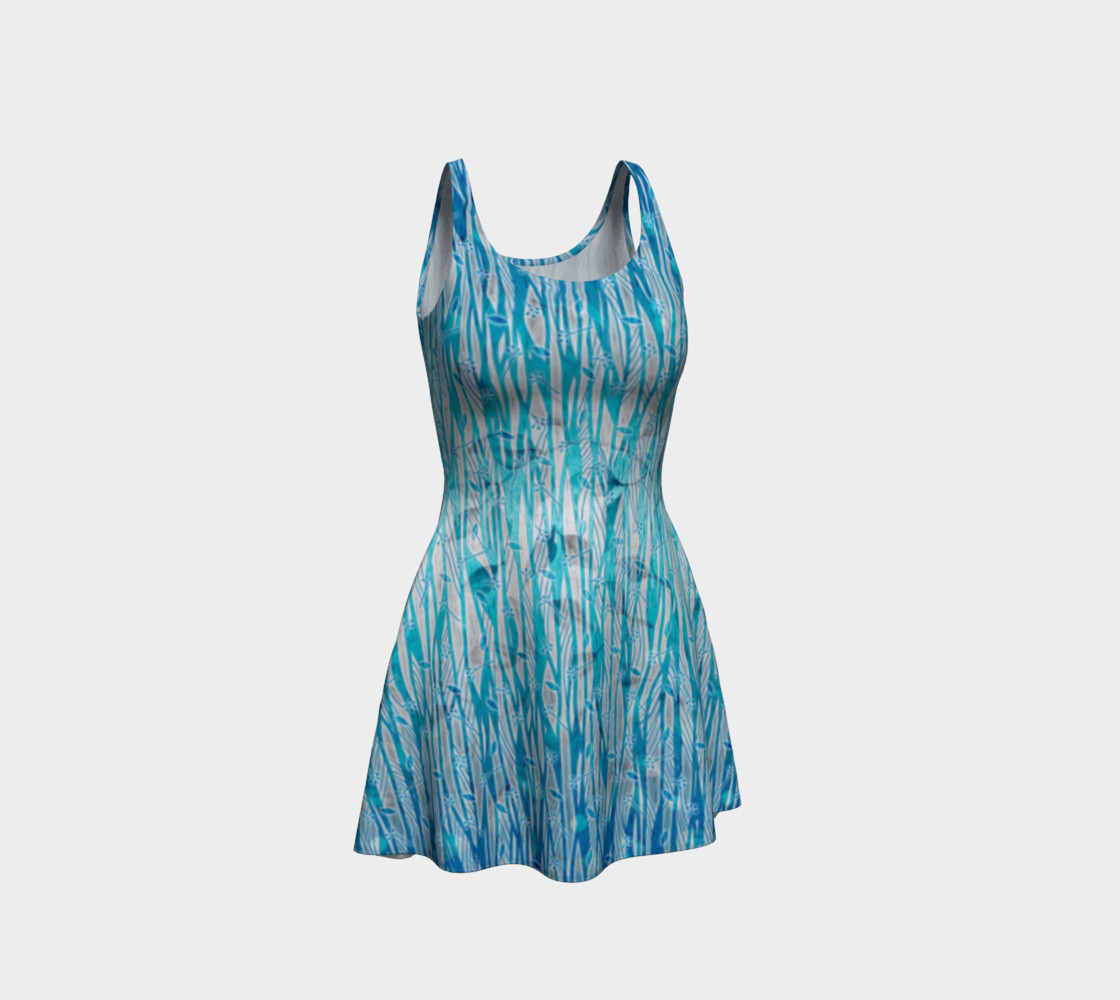 Blue Turquoise Silver Leafy Floral Flare Dress preview #1