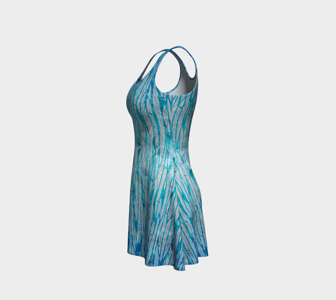 Blue Turquoise Silver Leafy Floral Flare Dress preview #2