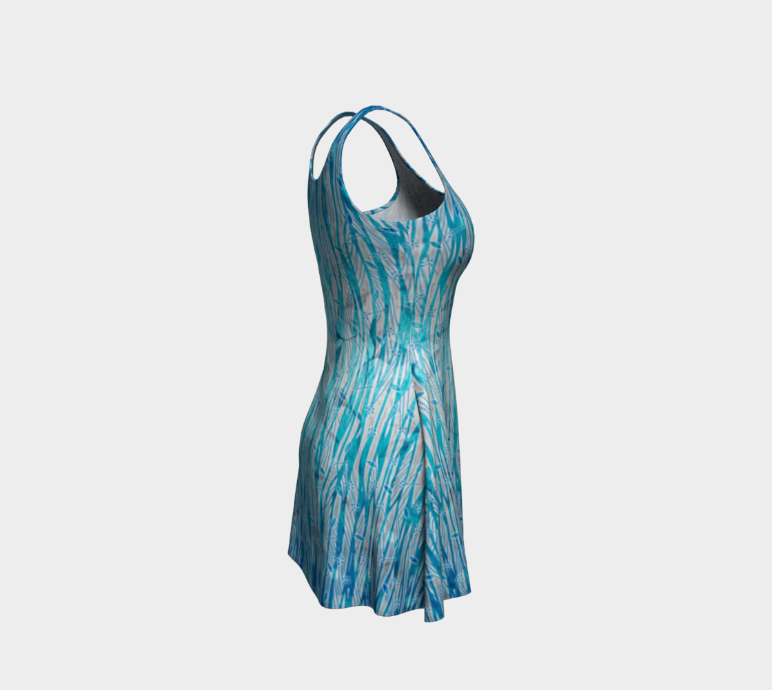 Blue Turquoise Silver Leafy Floral Flare Dress preview #4
