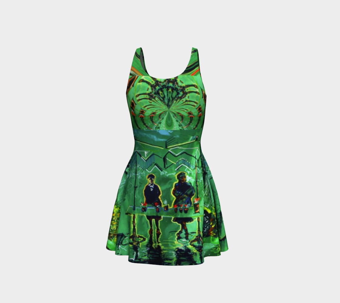 Aperçu de Emerald City Shiny-Look Green Flare Dress #3