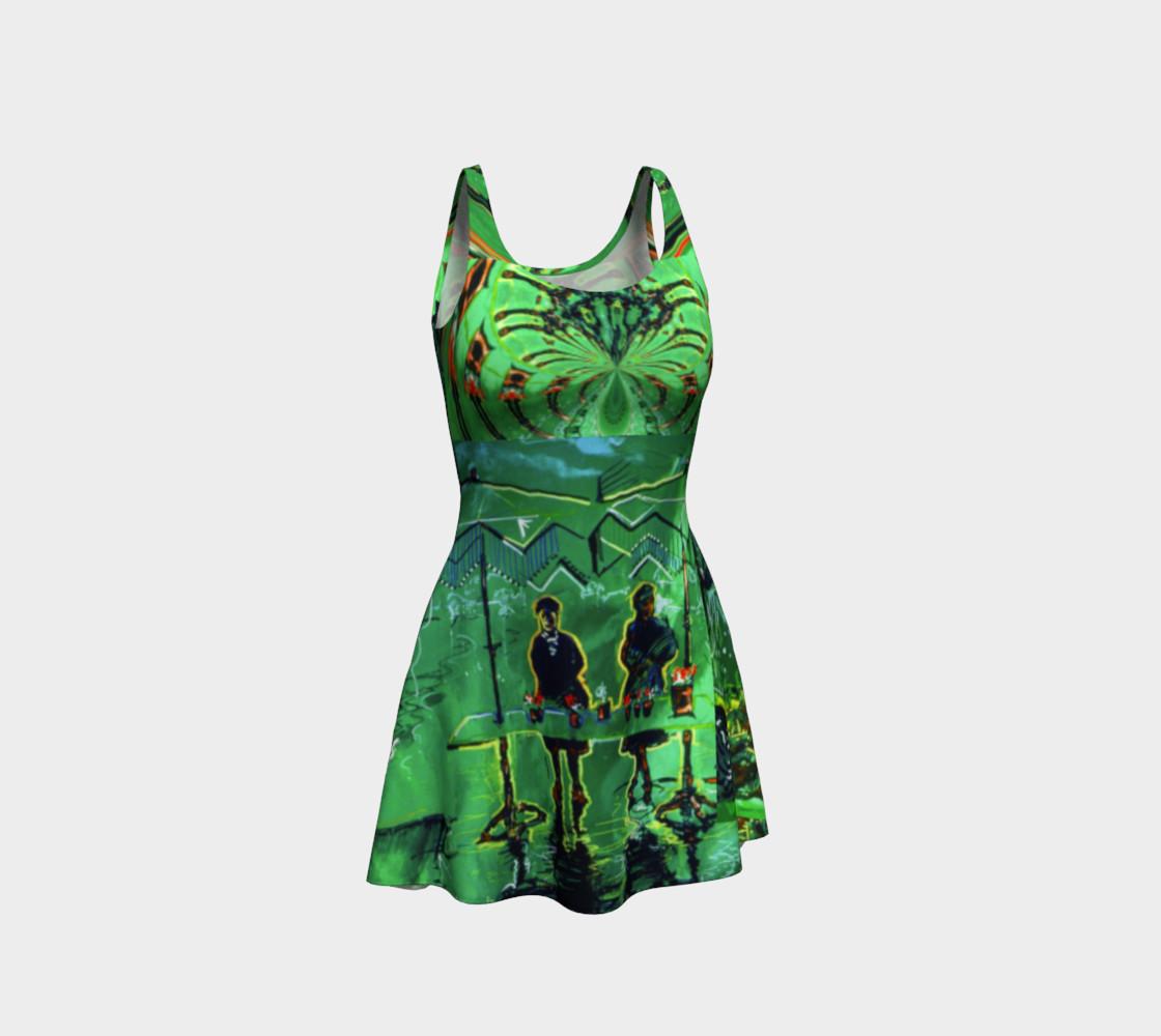 Aperçu de Emerald City Shiny-Look Green Flare Dress #1