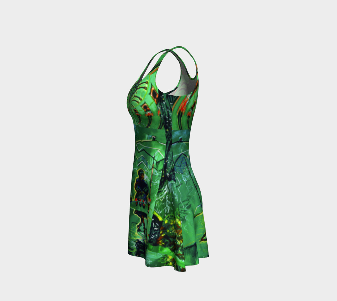Aperçu de Emerald City Shiny-Look Green Flare Dress #2