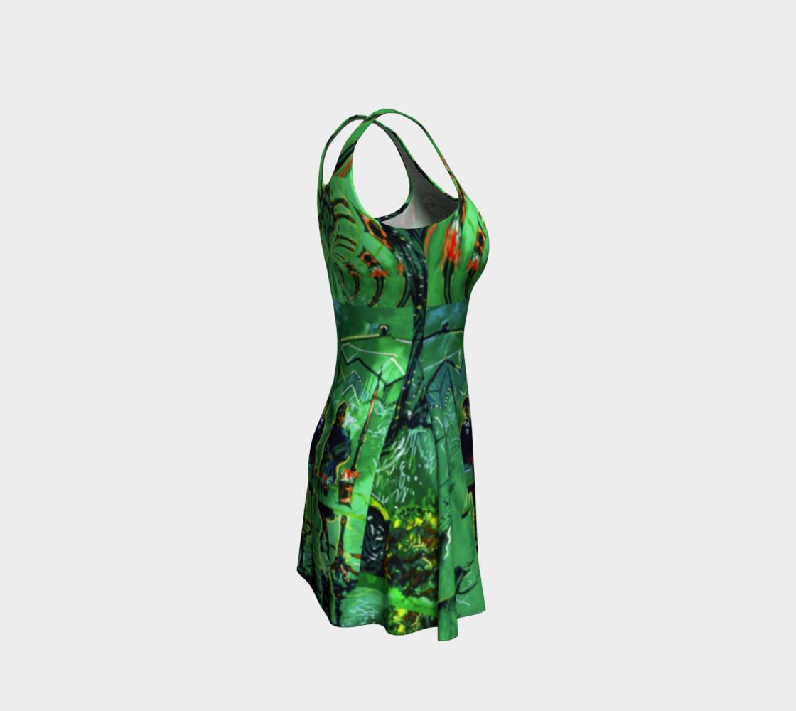 Aperçu de Emerald City Shiny-Look Green Flare Dress #4