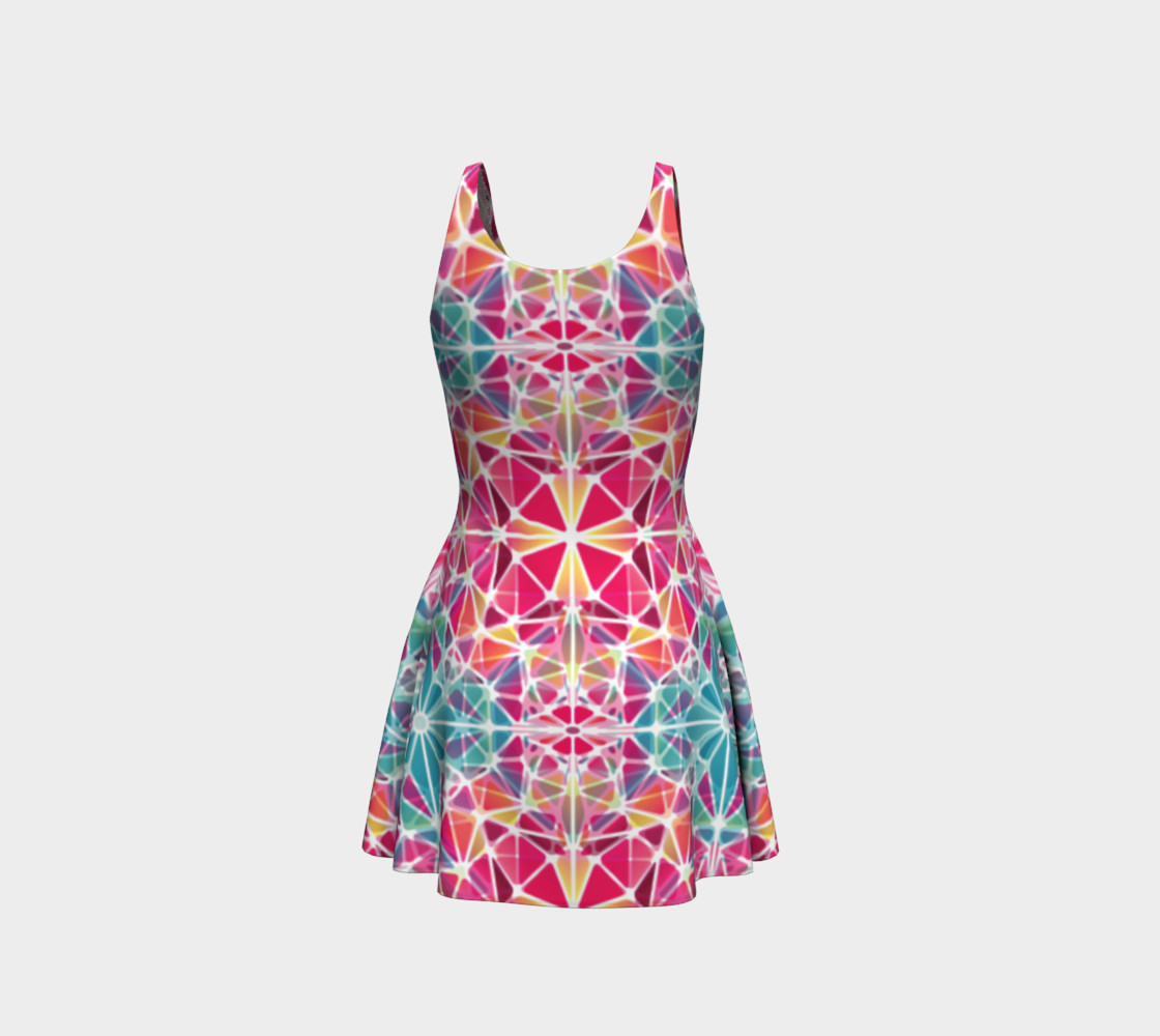 Pink and Blue Kaleidoscope Flare Dress preview #3