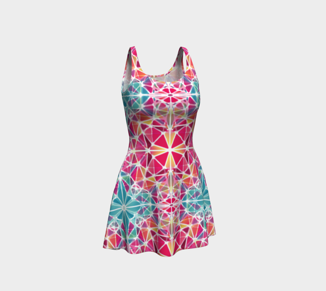Pink and Blue Kaleidoscope Flare Dress preview #1