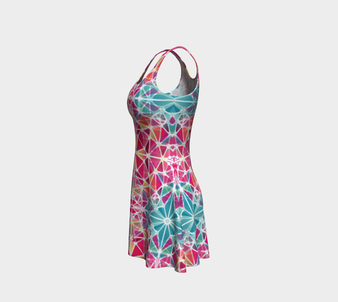 Pink and Blue Kaleidoscope Flare Dress preview #2