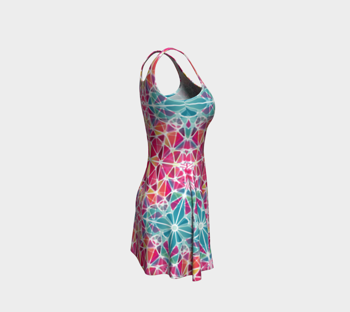Pink and Blue Kaleidoscope Flare Dress preview #4