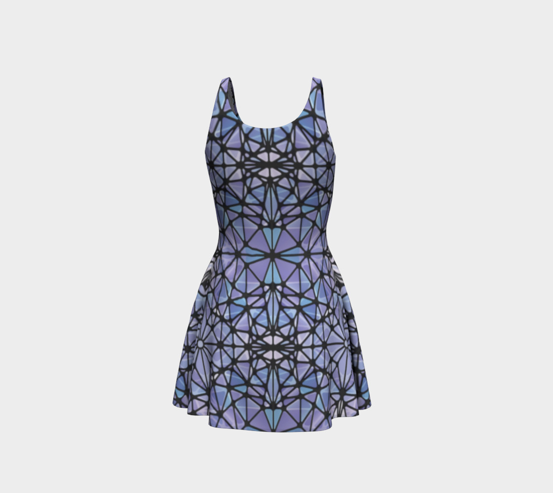 Purple and Blue Kaleidoscope Flare Dress preview #3