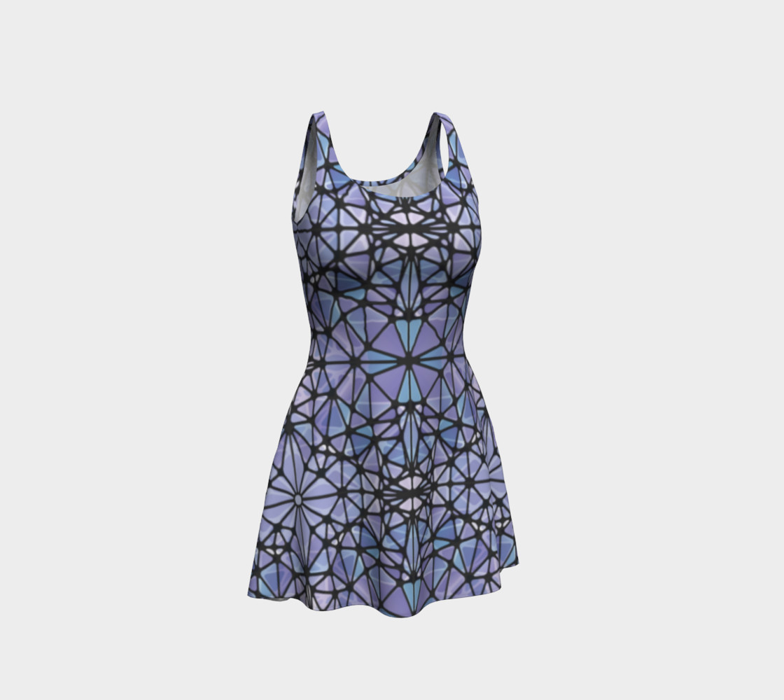 Purple and Blue Kaleidoscope Flare Dress preview #1