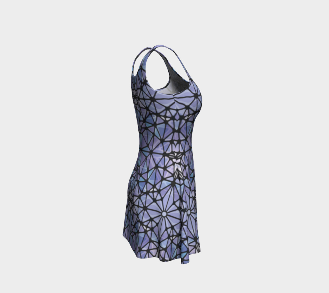 Purple and Blue Kaleidoscope Flare Dress preview #4