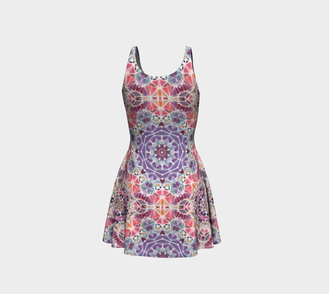 Purple and Pink Kaleidoscope Flare Dress preview #3