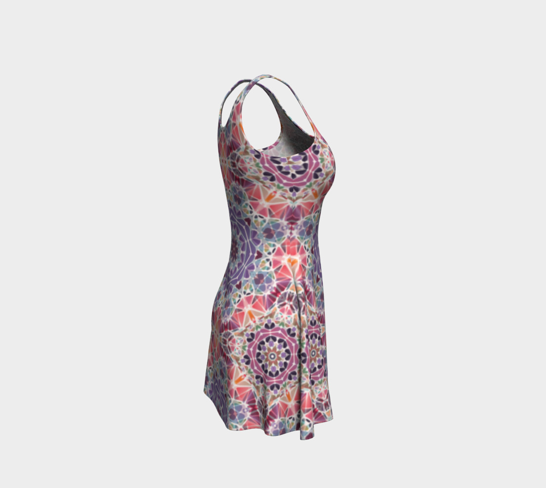 Purple and Pink Kaleidoscope Flare Dress preview #4