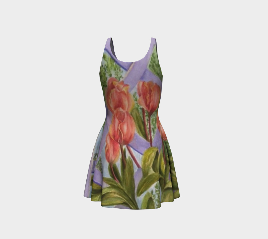 Orange Tulips 2 Flare Dress preview #3