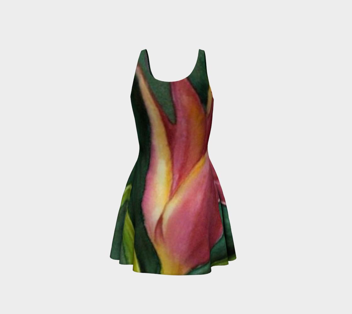 Orange Yellow Tulip Flare Dress preview #3