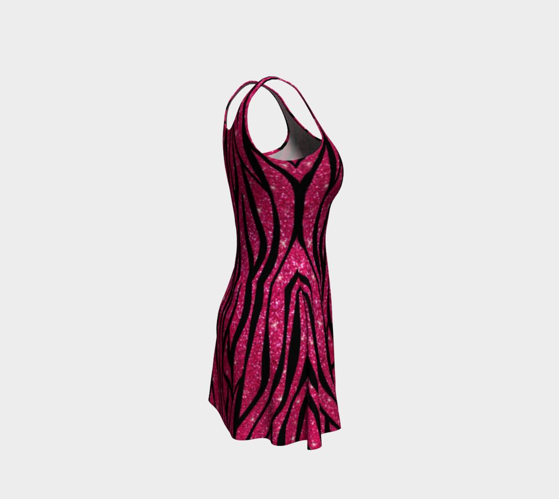 Faux pink glitter zebra stripes dress preview #4