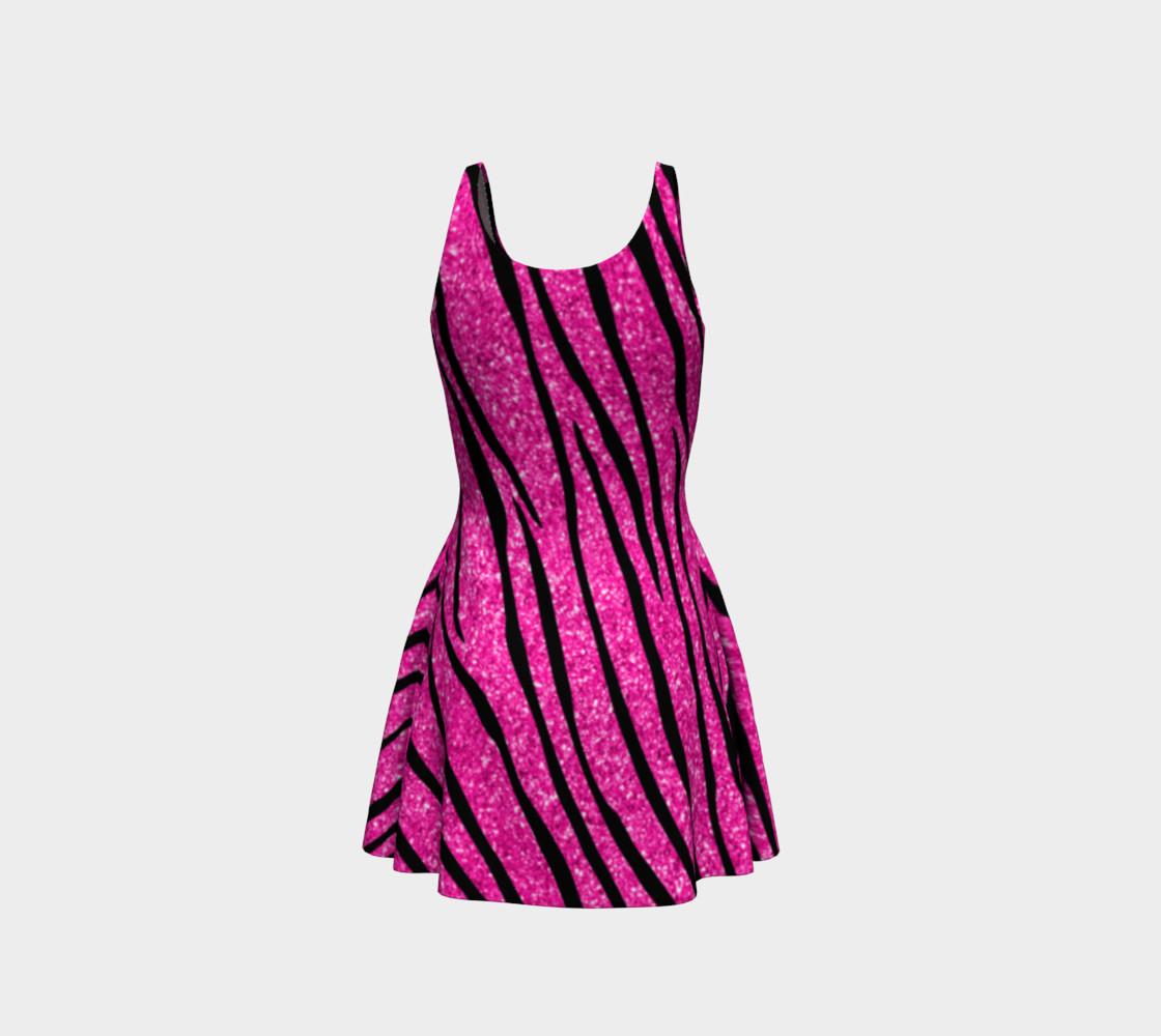 Faux neon hot pink glitter zebra stripes dress preview #3