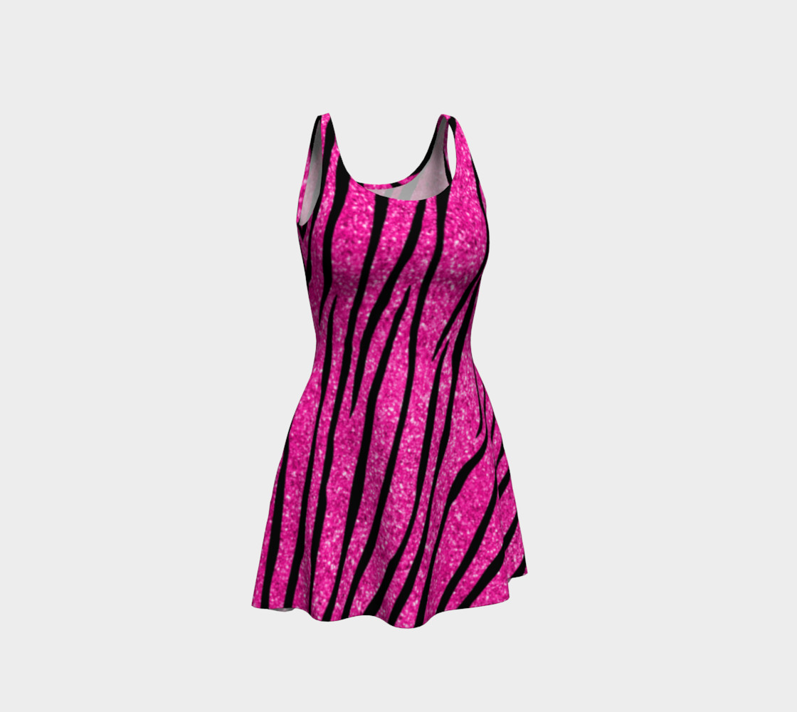Faux neon hot pink glitter zebra stripes dress preview #1