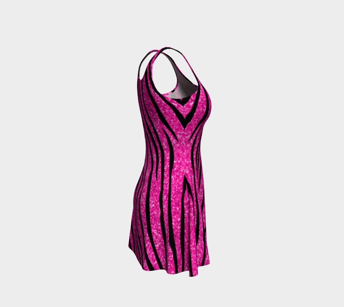 Faux neon hot pink glitter zebra stripes dress preview #4