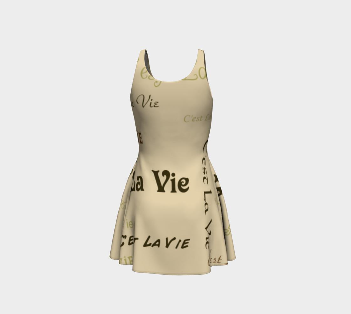 Coffee C'est La Vie Flare Dress preview #3