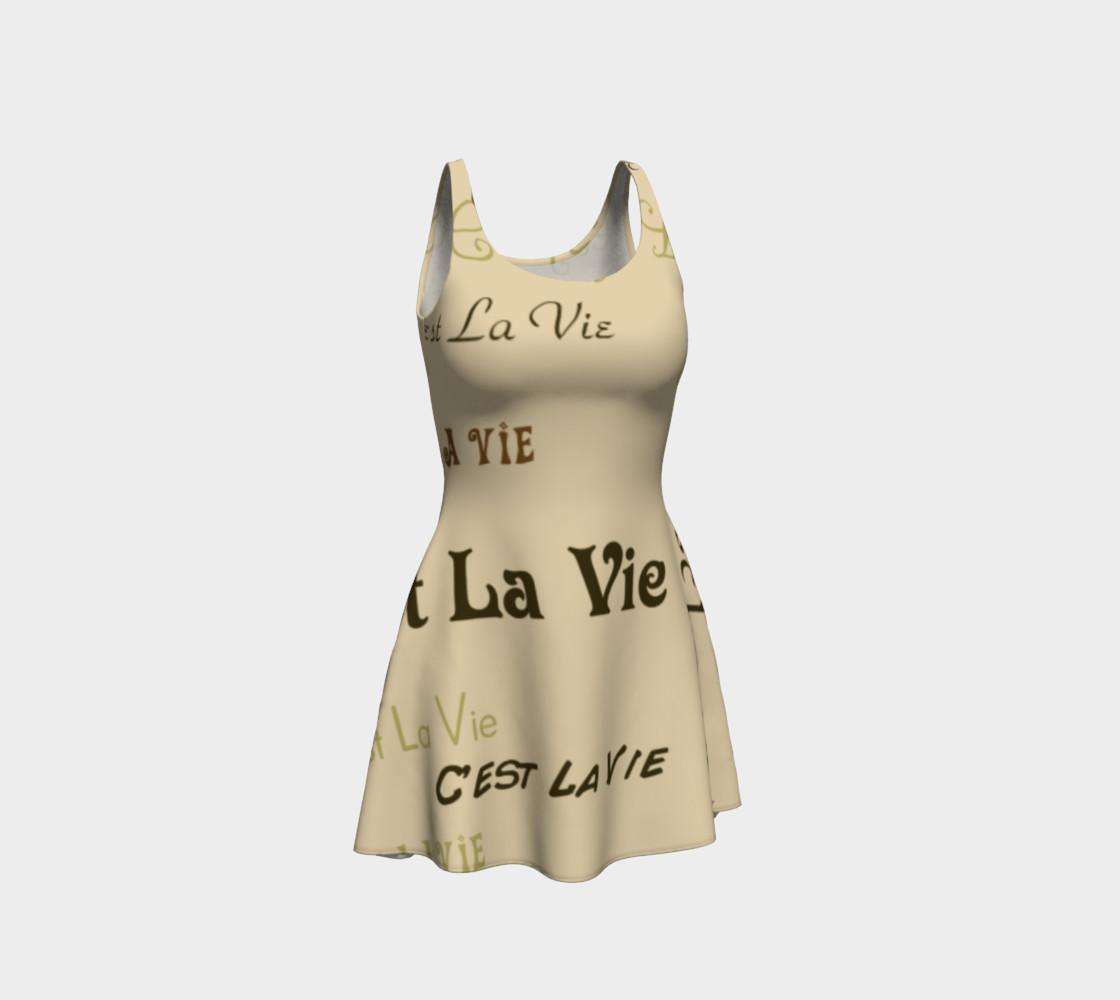 Coffee C'est La Vie Flare Dress preview #1