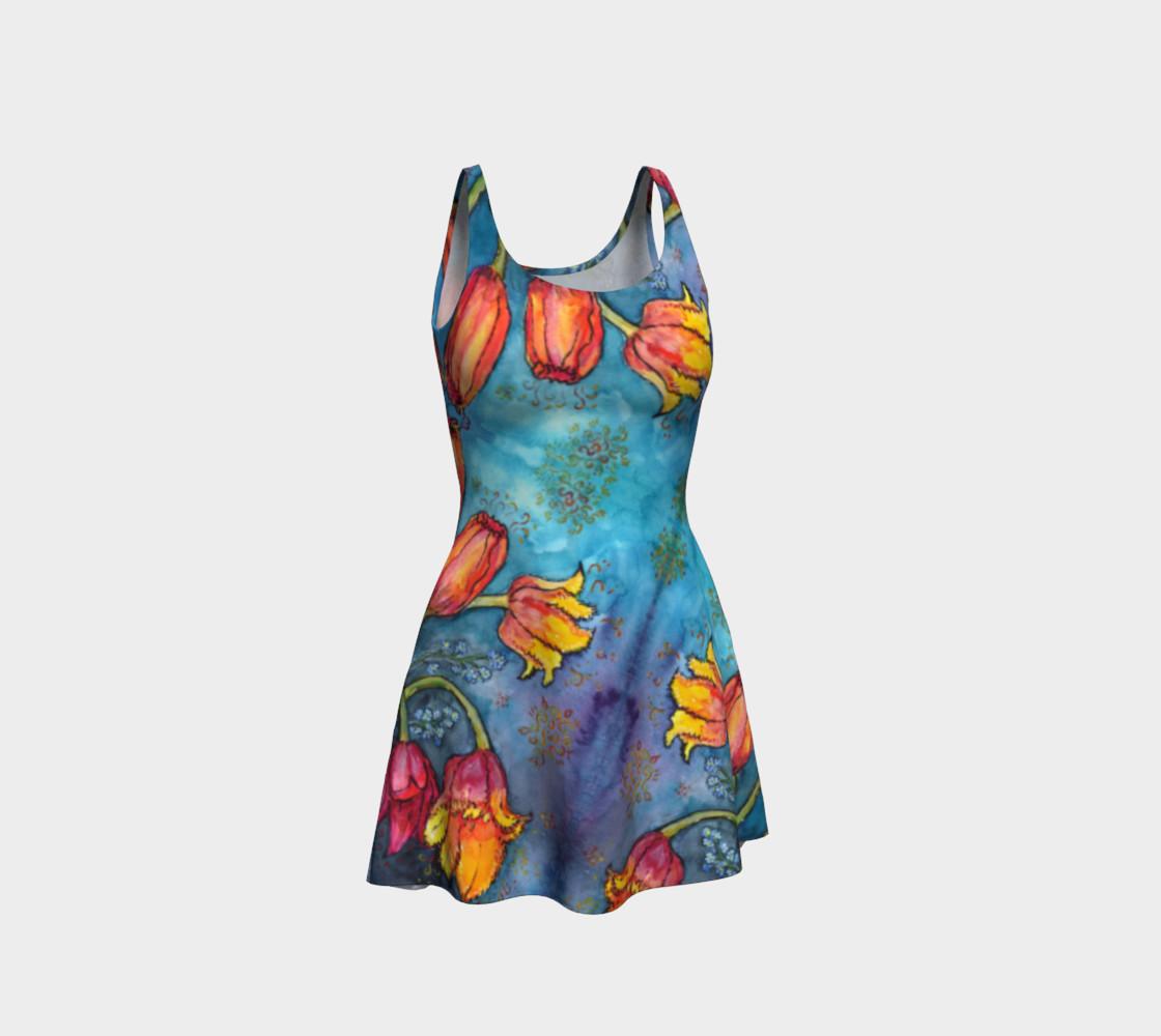 Aperçu de Watercolor Tulips - Flare Dress 1 #1