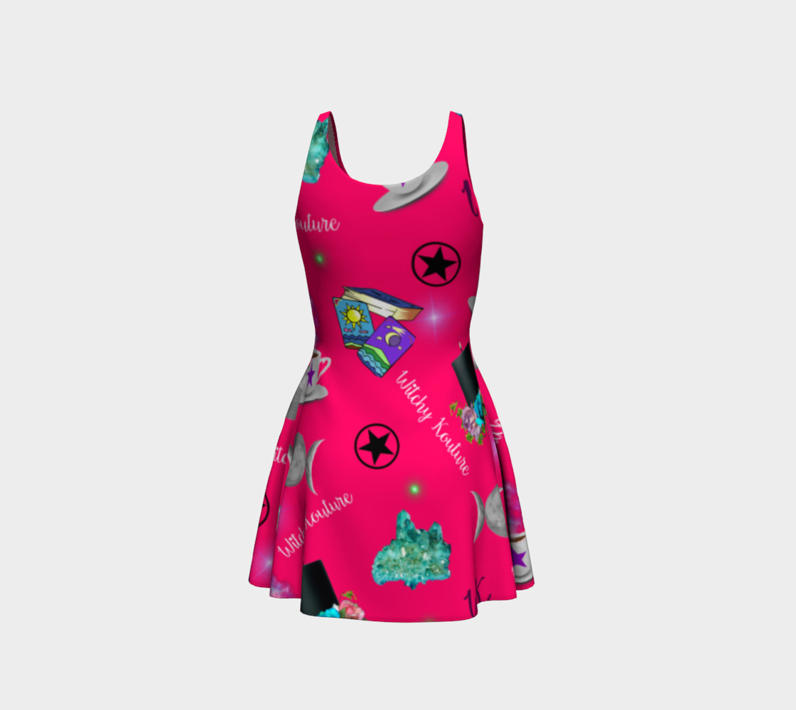 WK #ModernWitchLife Pink Print Flare Dress preview #3