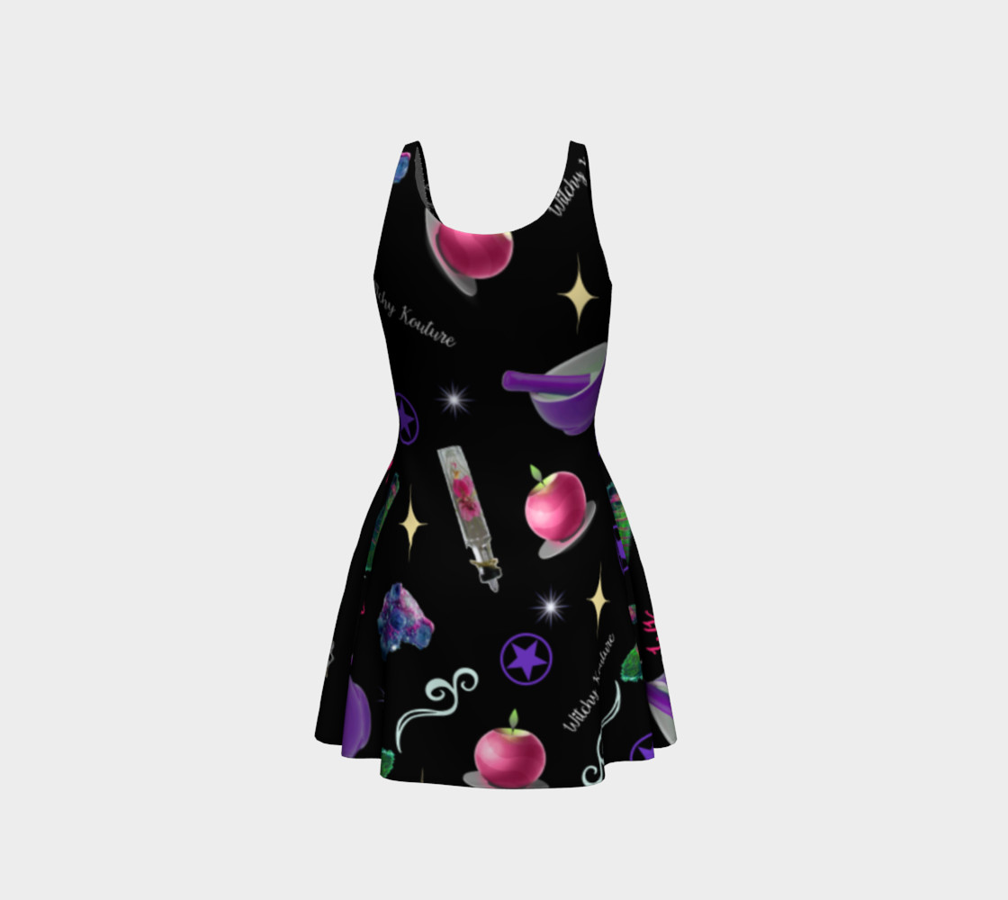WK #ModernWitchLife Black Print Flare Dress preview #3