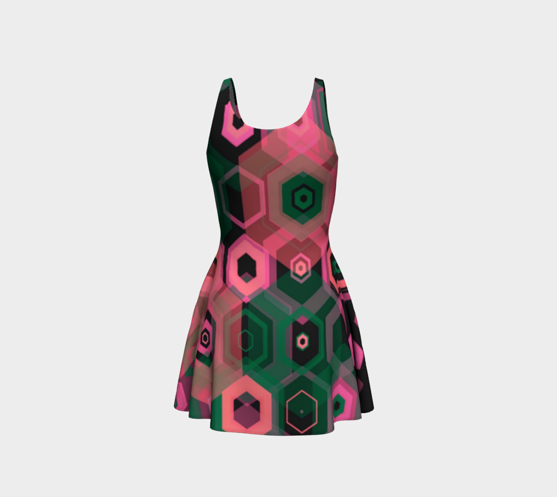 So Retro Pink Abstract Flare Dress  preview #3